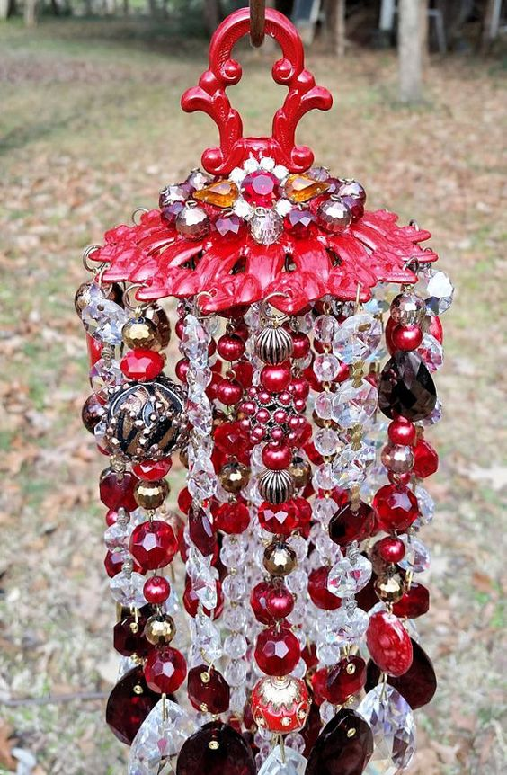 Jeweled Sassy Red Antique Crystal Wind Chime by sheriscrystals