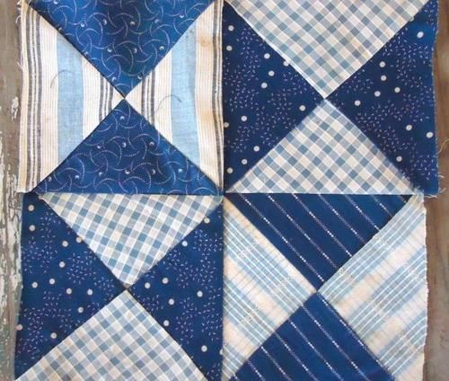 "WOW 1800s Antique Indigo Blue Calico Homespun Pinwheel Quilt Block 9 5"" 2 