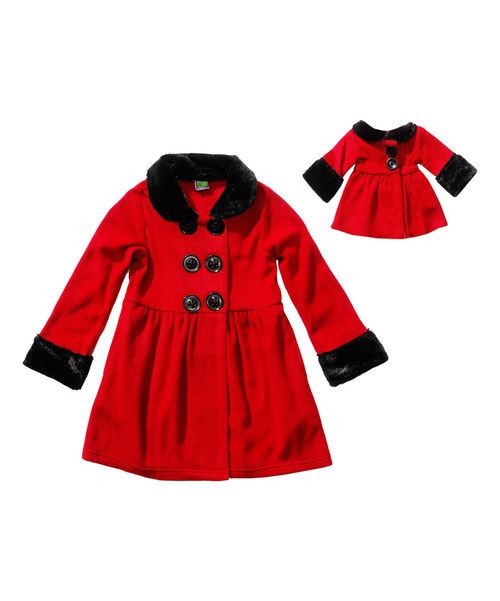 Dollie & Me Red Faux Fur-Trim Peacoat & Doll Coat - Toddler & Girls | zulily perfect (A perfect gift for Valentines in size 6 or 7)