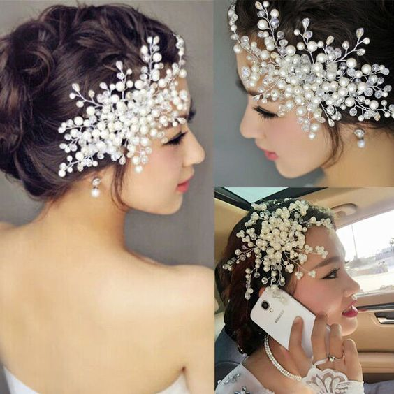 Wedding Bridal Hair Comb Evening Formal Hair clip Rhinestone Pearl Head Piece