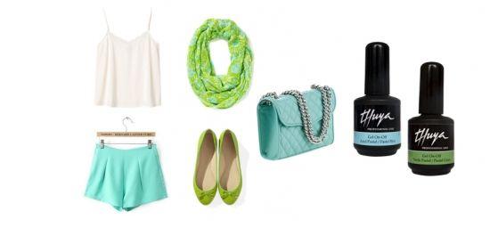 ¡Verde que te quiero verde!  Con esmalte semi  permanente On-OFF