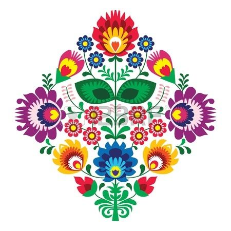 Folk bordado con flores patr n tradicional polaca Foto de archivo