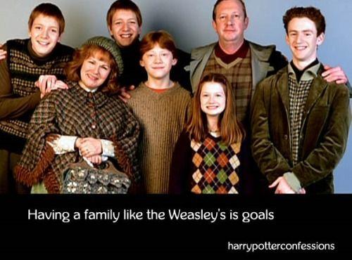Having A Family Like The Weasleys Is Goals Potterhead Weasley Family Harry Potter