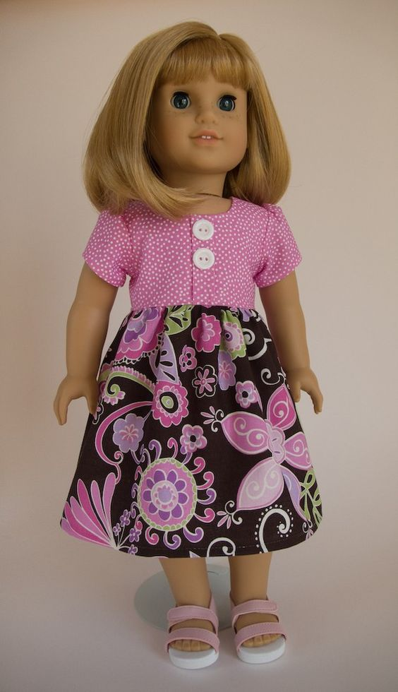 RESERVED FOR LORIE American Girl Doll Clothes - Spring Party Dress in Orchid Boho Blossom