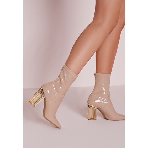 Missguided Perspex Patent Heel Ankle Boots Nude ($68) ❤ liked on ...