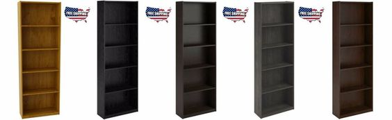 Bookcase 5 Shelf White Storage Bookshelf Wood Furniture Adjustable Book Shelving…