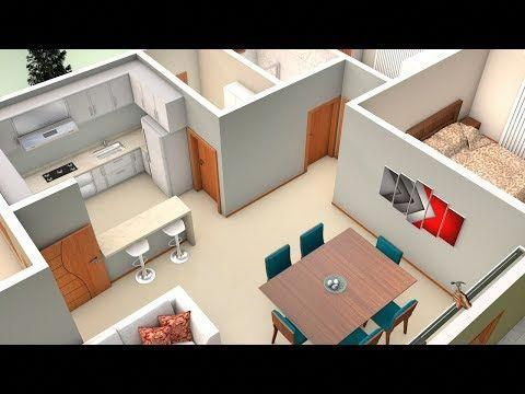 3d Simple House Plan With Two Bedrooms And American Kitchen Youtube Cocinascolores House Floor Design Home Room Design Simple House Plans