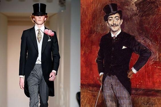 """O fraque e a cartola fizeram parte do """"uniforme"""" das classes altas no século 18, mas continuam influenciando roupas formais até hoje, como o visual da marca Dunhill. O look lembra o mesmo usado pelo retratado de """"Portrait of the Comte de Rasty"""", de Giovanni Boldini"""