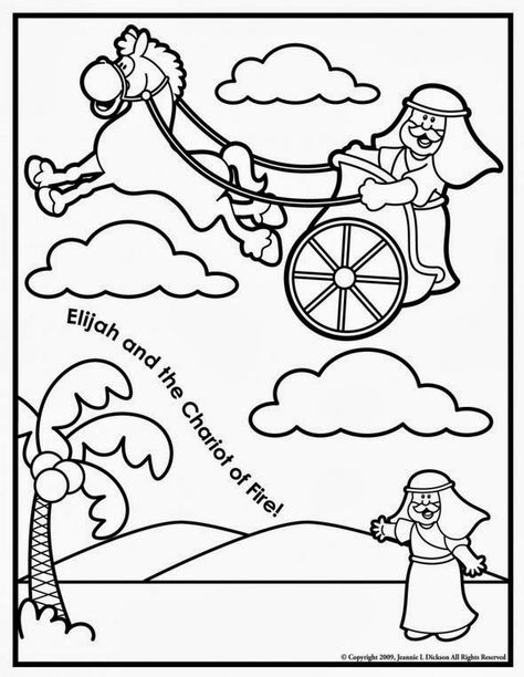 Creative Sunday School Crafts Elijah And The Chariot Of Fire Coloring Page Sunday School Coloring Pages Bible Crafts Sunday School Crafts