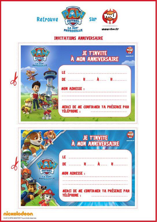 Assez Cartes d'invitations d'anniversaire - Paw Patrol - TFOU | Anna  IY66