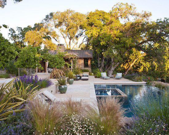 ziergräser pool stein hohe bäume garten mediterran | garten, Hause und Garten