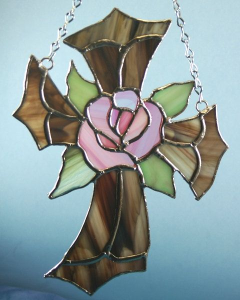 Stained Glass Cross with Pink Baroque Rose Center by glassnwood, $27.00