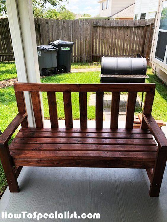 Diy 2 4 Bench With Backrest In 2020 Diy Bench Outdoor Wood Bench Outdoor Garden Bench Diy