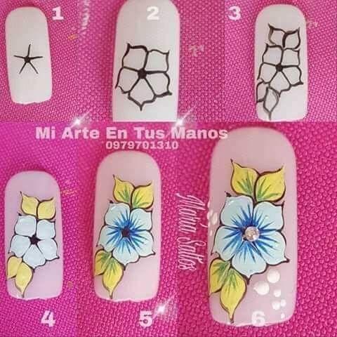 Paso A Paso Uñas Diseños De Uñas Flores Diseños De Uñas Y