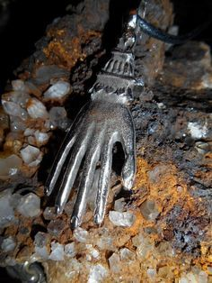 Pewter Hand Pendant Amulet for sale at Gothic Rose Antiques http://www.