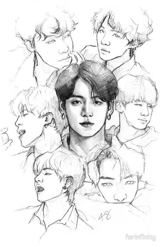 Poster Ot7 Of Forinfinity Drawings Beauty Drawings Bts Drawings