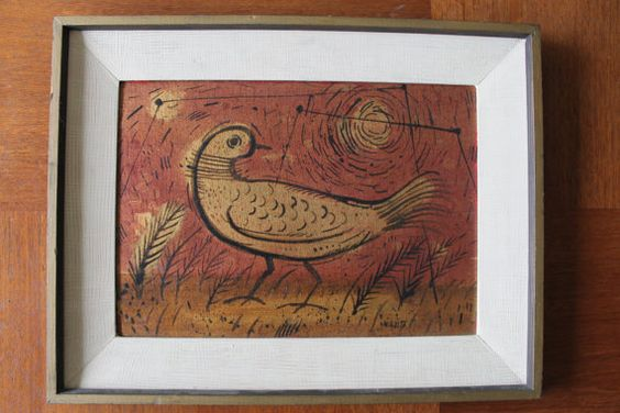 Original, 10 x 14 metallic-tinged painting of a bird, titled Bird and signed by the listed artist, Forrest Hibbits