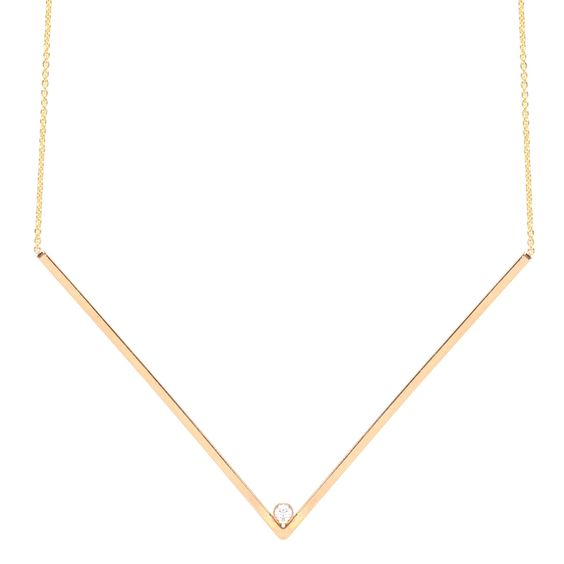 14k x-large diamond V necklace