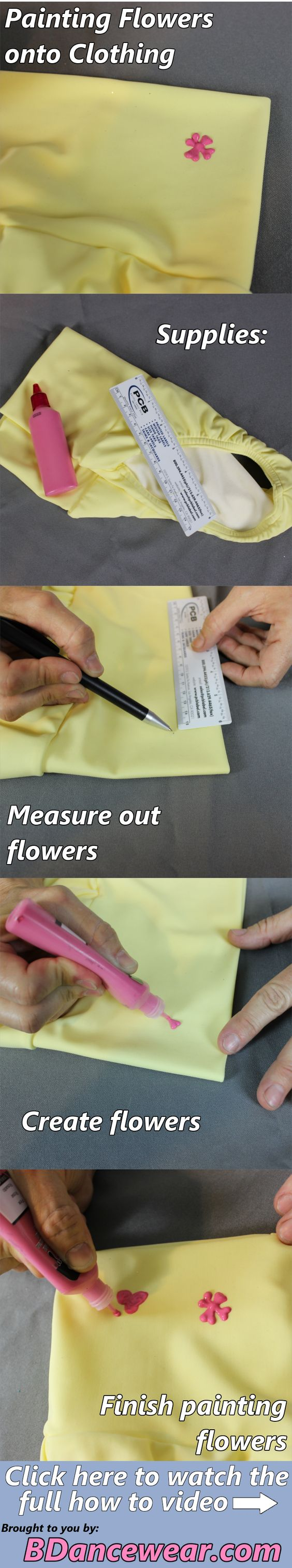 How to paint flowers on clothing for a dance costume.