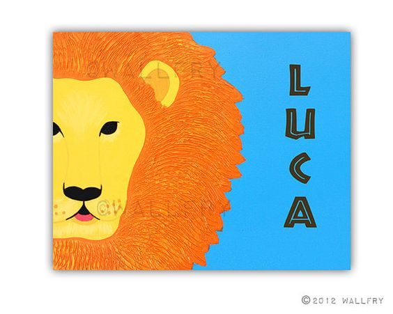 Personalized children art Lion Print baby nursery art. by Wallfry