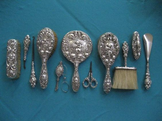 Love Dream 11 Piece Vanity Dresser Set Sterling Silver Hand Mirror Brushes Lorgnette Gles Orted Accessorie
