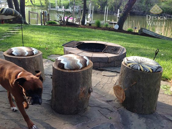 Padded Tree Stump Stools for your Fire Pit!