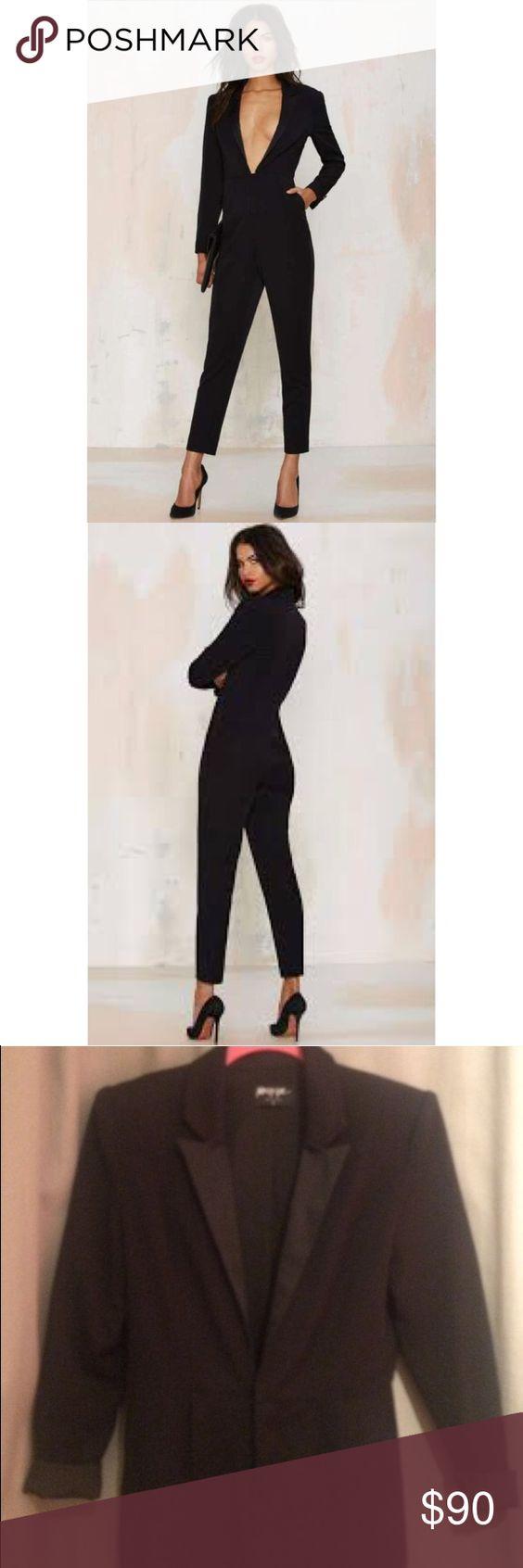 374ac23b857 Nasty Gal Like a Boss Tuxedo Jumpsuit