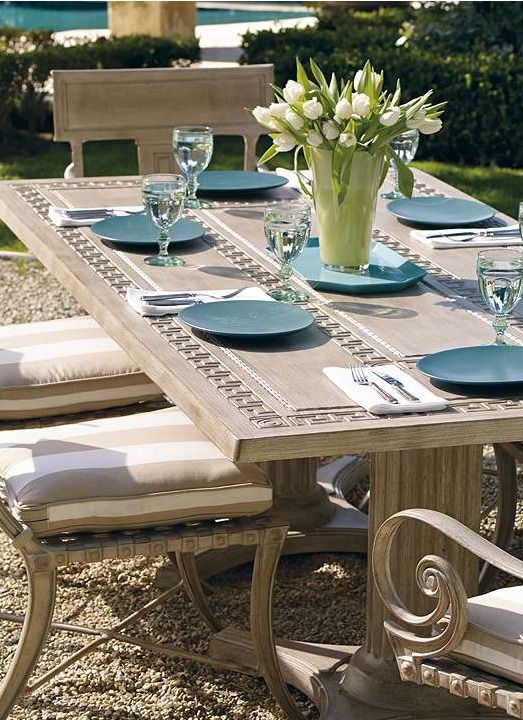 A meandering Greek key creates the border and central decorative element of our Athens Dining Collection.