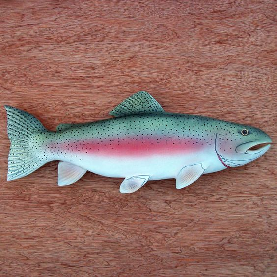 Folk art fish wood carvings and trout on pinterest