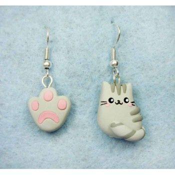 Pusheen + footprint,fimo, handmade,hecho a mano,polymer clay,earrings,pendientes,cat,gato,