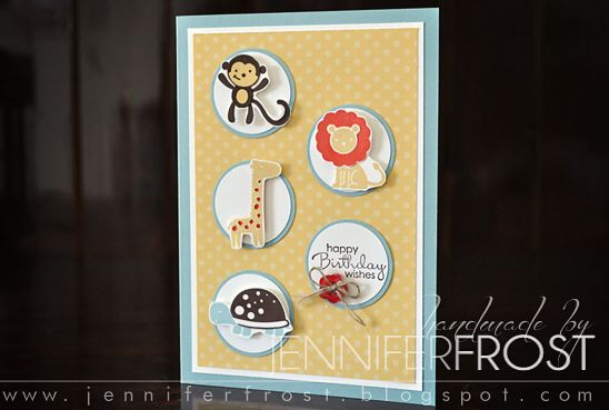 Super cute happy birthday children's card featuring the Stampin' Up! Fox and Friends imagery