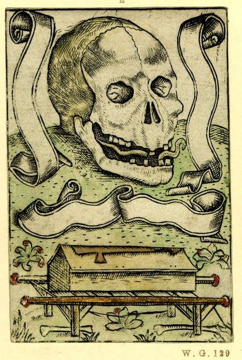 Memento Mori with a skull, surrounded by three empty scrolls atop a hillock with a coffin on a bier below, . British Museum, early 16th century