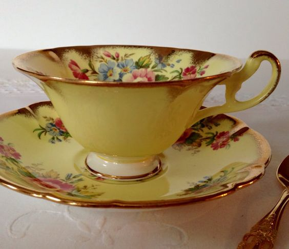 Yellow EB Foley China Tea Cup & Saucer
