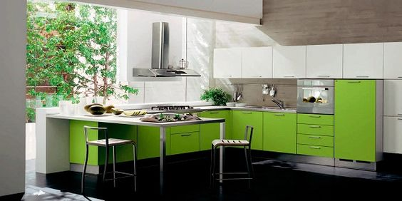 Modern Kitchen Color Schemes with Green Accents