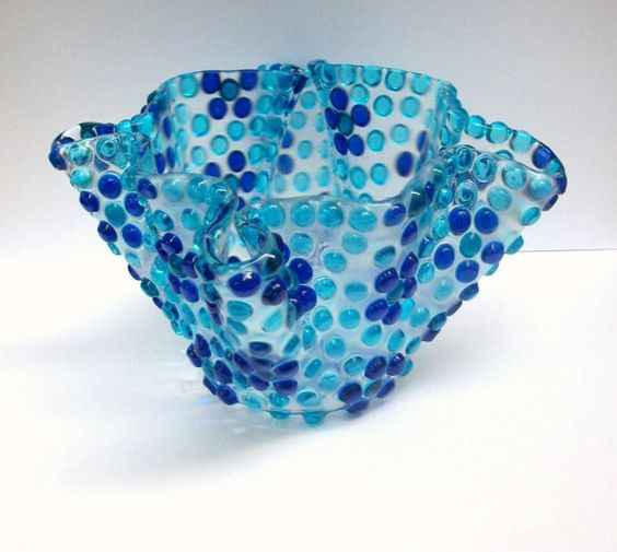 Verschmolzen Glas Kerzenhalter / Vase blau blumen