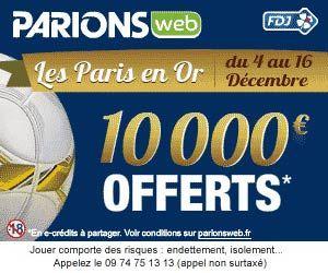 Parions Web : Les 5 temps forts des Paris en Or dotés chacun d'une cagnotte de 2000 euros, soit 10000 euros sur l'ensemble de l'opération.