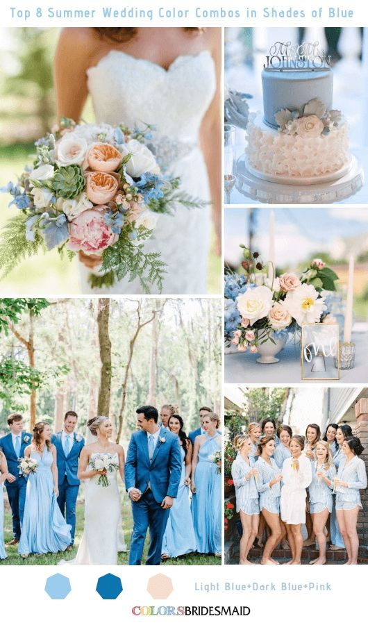 Top 8 Summer Wedding Color Combos In Shades Of Blue For 2019 Wedding Color Combos Wedding Color Combinations Light Blue Wedding