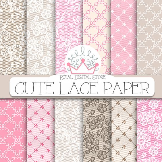 """Lace Digital Paper: """" Cute Lace Digital Paper"""" with lace background, lace…"""
