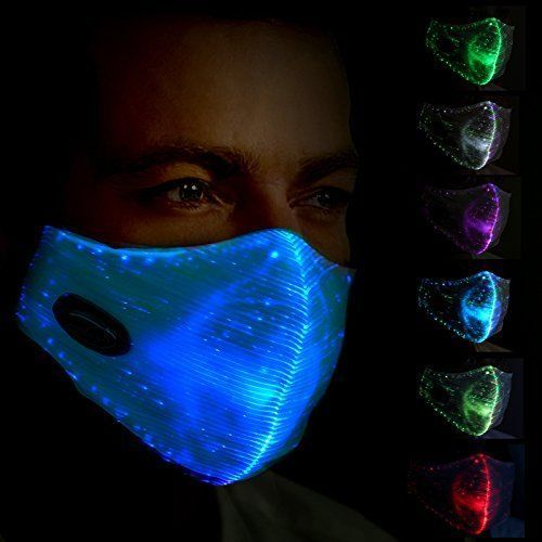 Safebao Led Dust Mask 7 Colors Luminous Light For Men Women Rave Mask Music Fashion Clothing Shoes Accessories Cost Rave Mask Light Up Face Mask Glow Mask