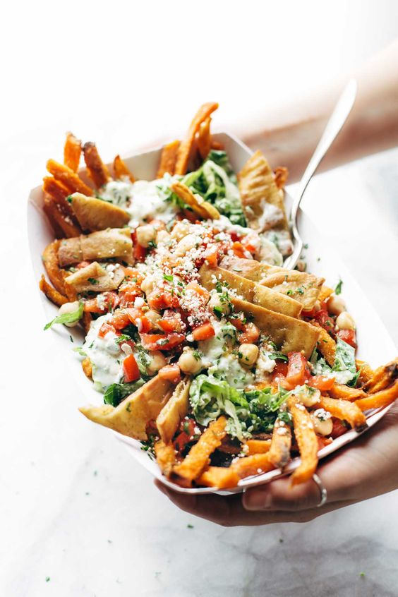 Loaded Mediterranean Street Fries- swap yoghurt for vegan yoghurt