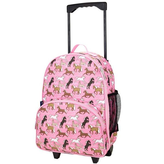 Children's Pink Horses Rolling Luggage - Available now on Becky & Lolo