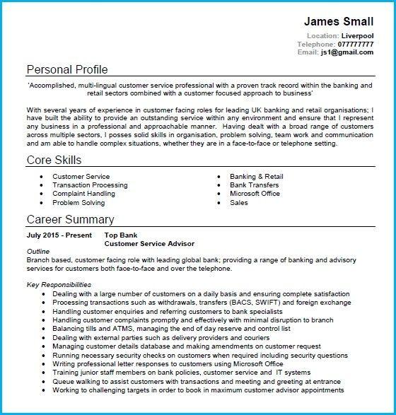Cv Examples Customer Service Colonarsd7