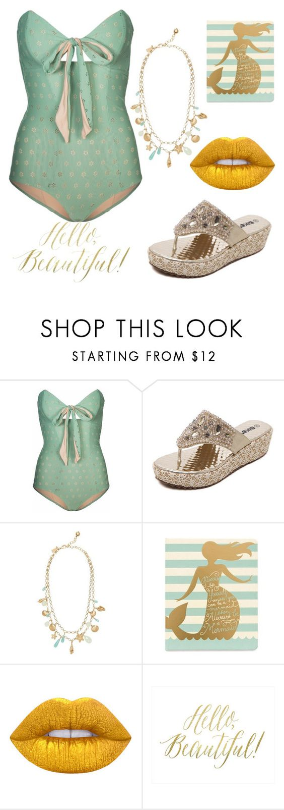 """""""mermaid pretty"""" by jjbear ❤ liked on Polyvore featuring Lilliput & Felix, Kate Spade, Spartina 449, Lime Crime and Dot & Bo"""