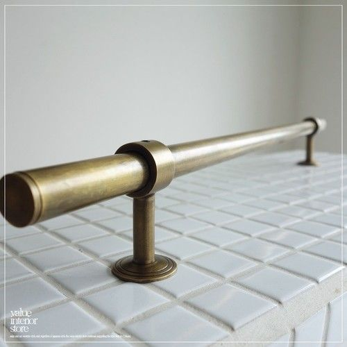 真鍮ドアハンドルbar ノブ 取っ手 鋳物 鋳造 レトロ ブラス取手 手すり