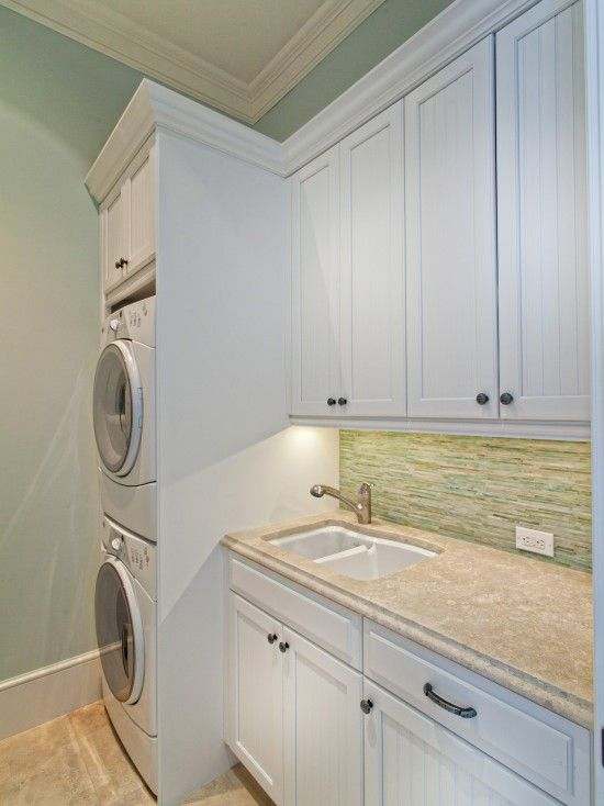 Washers dryers and design on pinterest for Washer and dryer in bathroom designs