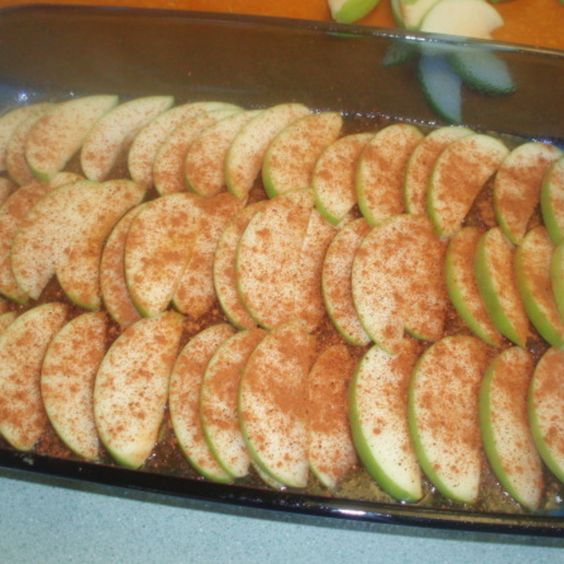 Upside Down Apple French Toast Recipe- this is just the bottom layer, not the finished product