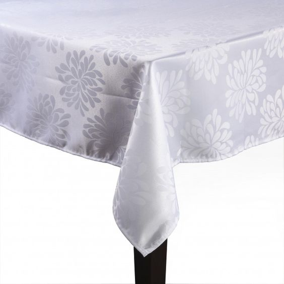 Impress your guests for less with a Dining Basix tablecloth. These 100% silk-look, patterned polyester are stain resistant and machine washable for easy care and maintenance.