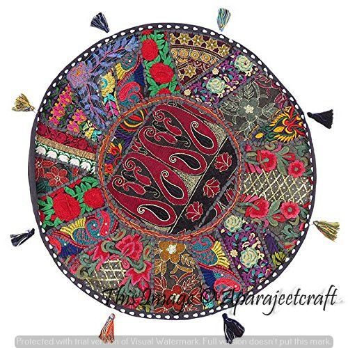 Large Floor Cushion Patchwork Floor Cushions Indian Round Pillow Case Bohemian Ottoman Pouf Cover Vintage Meditation Floor Pillows Sitting Decorative Cushions Large Floor Cushions Floor Cushions