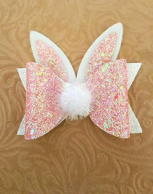 """Easter Bunny Double Layer Glitter Hair Bow Large 4"""" White Glitter"""