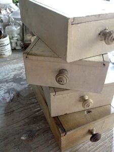 Image of Antique Wooden Pharmacy Boxes